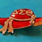 Delta Sigma Theta Sorority LARGE 2 3/4 X 1 3/4 STYLISH RED HAT PIN WITH STONES