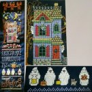 PDF FILE Bewitching Haunted House Ghosts Happy Halloween Banner CROSS STITCH PATTERN