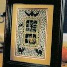 "PDF FILE CROSS STITCH ""HALLOWEEN WINDOW"" PATTERN BAT CATS PUMPKIN SPIDER"