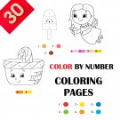 30 Color By Numbers Coloring Pages for Kids Vol 5