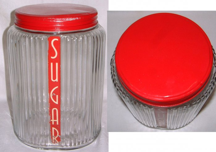 Owens Illinois Ovoid Sugar Canister Hocking Glass RED