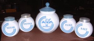 VITROCK Fire King Blue Circle Range Set Grease Jar Sugar F/S/P