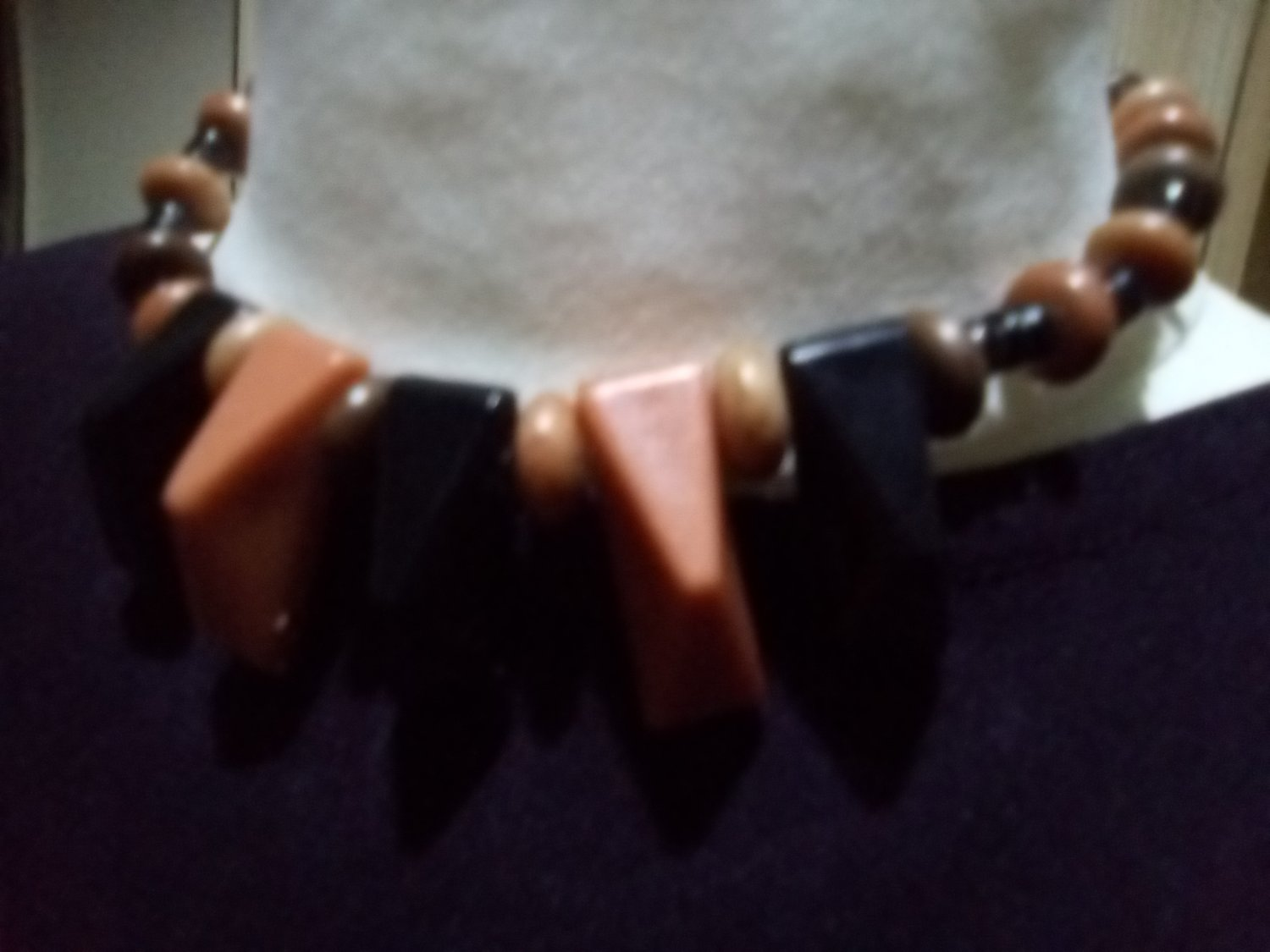 Brown plastic necklace with shaped beads c.1970s