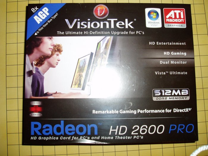 BRAND NEW VisionTek HD 2600 PRO AGP Video Card with 2DVI