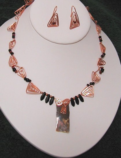 Copper, onyx necklace and earrings