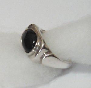 silver, black onyx man's ring