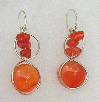 silver circle, carnelian earrings