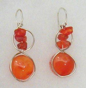 silver circle, carnelian earrings