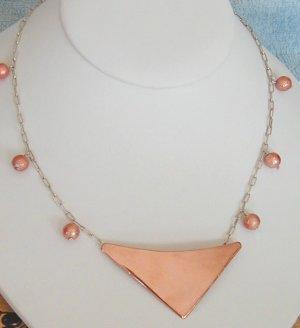 copper pendant on silver chain necklace