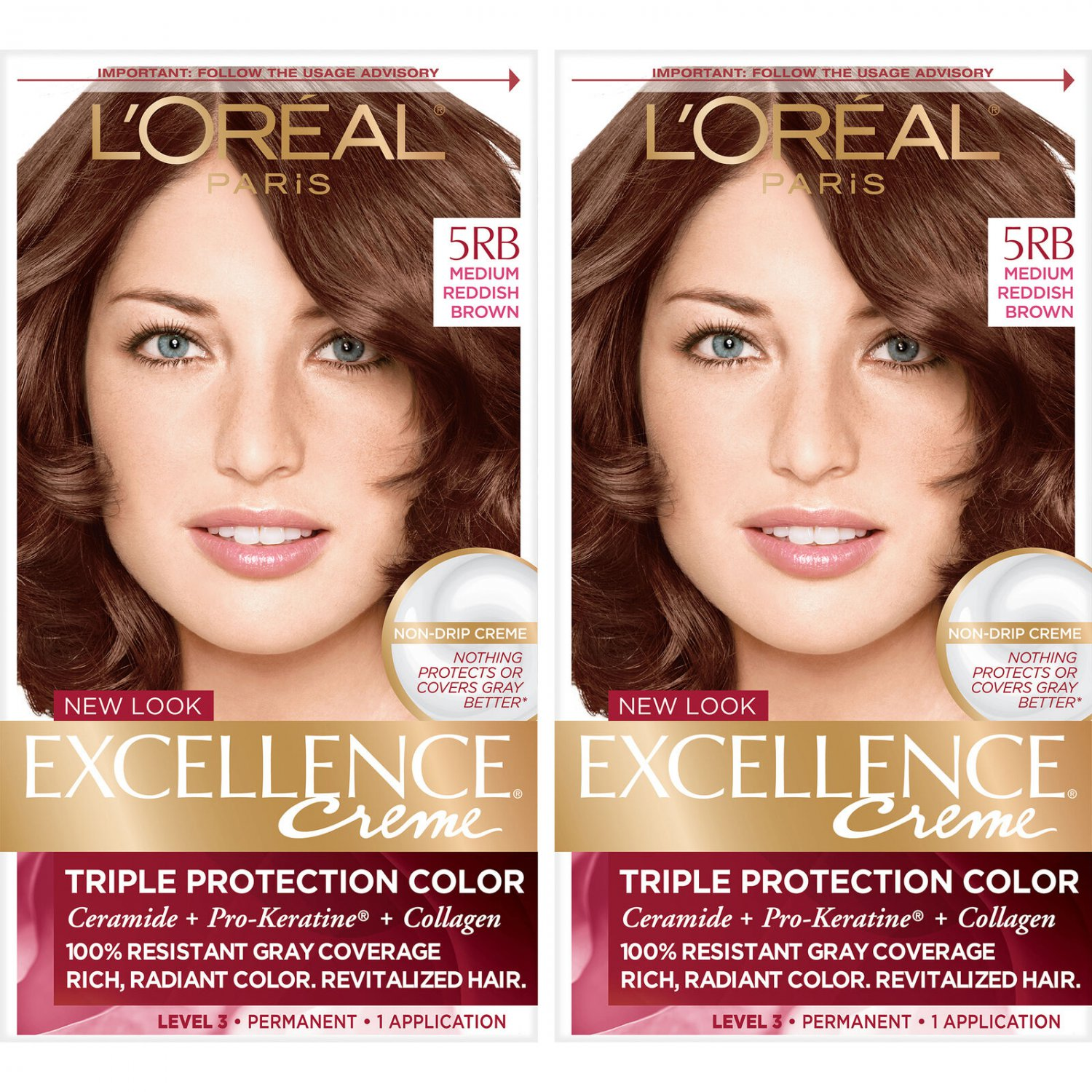 LOreal Paris Excellence Creme Permanent Hair Color 5RB Med Reddish Brown 2 Pack
