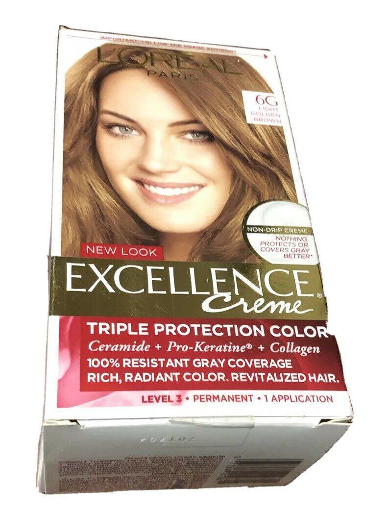 2X Loreal Paris Excellence Creme Permanent Hair Color, 6G Light Golden Brown