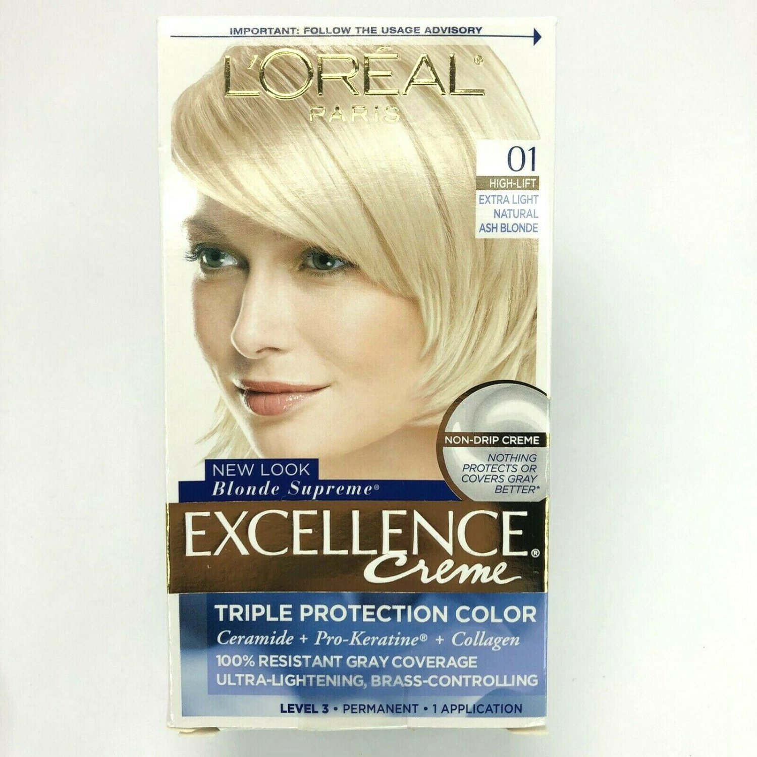 2X LOREAL Excellence Creme Color, 01 Extra Light Natural Ash Blonde