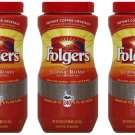 3X Folgers Classic Roast Instant Coffee Crystals, 16 ounces