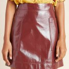 Maeve by Anthropologie women's skirt faux patent leather vinyl wine