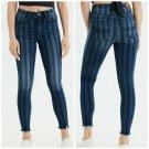 American eagle women's jegging crop retro indigo stripe super high rise jeans size 2