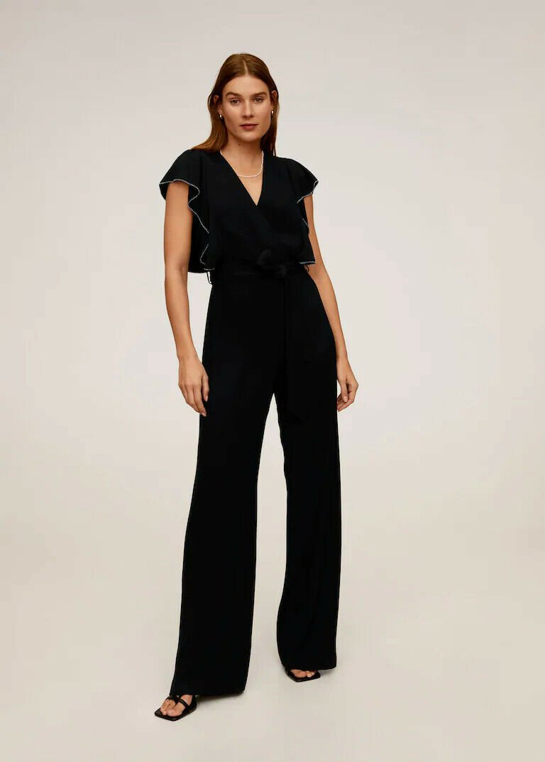 Mango womens frilled long jumpsuit black size S usXS