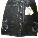 Desigual women's skirt fal martia embroidered denim 18WWFD08/5162 black size 24
