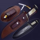 """Damascus Bowie 14"""" Camel Bone Handle with cover and stainless steel pocket knife"""