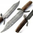 Custom Handmade Damascus Steel Hunting Bowie Knife Top Quality