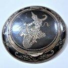 Vintage Siam Temple Dancer Sterling Silver Niello Powder Compact