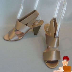 New Authentic Chloe Scarface Light Gray Satin Heels Shoes 39 / 8.5 $499