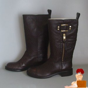 New Authentic Tory Burch Logo Motorcycle Stowe Brown Boots 6