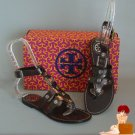 New Authentic Tory Burch Briza Gladiator Sandals Flats Anthrocite 9.5
