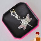 New Authentic Boxed Juicy Couture Good Luck Dragonfly Charm Crystal Silver $48