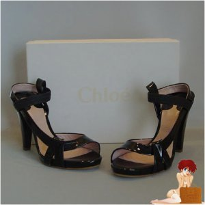 New Authentic Chloe Kylie Black Patent Leather Shoes 41 / 9-9.5 $565