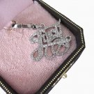 New Authentic Boxed Juicy Couture Crystal Pave Juicy Silver Script Charm $52