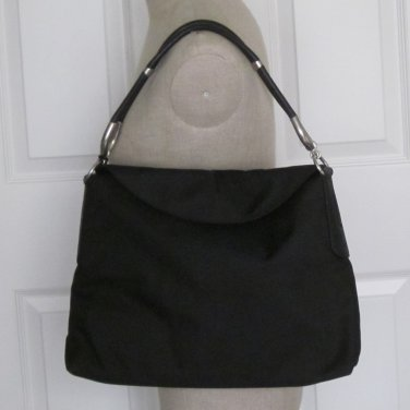 New Authentic Hogan JP Tod's Hobo Belt Media Purse Bag Black Fabric Leather Trim