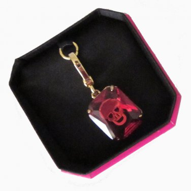 New Boxed Authentic Juicy Couture Small Skull Engraved Gem Red Gold YJRU5964 $42