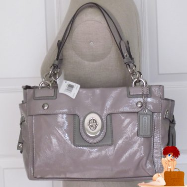 New Authentic Coach Peyton Patent Leather CarryAll Purse Bag Handbag 19756 Grey