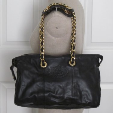 New Authentic Juicy Couture Small Lena Leather Shoulder Bag Purse Black $298