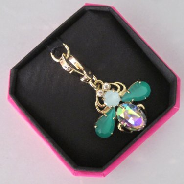 New Authentic Juicy Couture Love Bug Facet Rhinestones Green Wings Gold YJRU6475