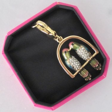 New Authentic Juicy Couture Kissing Love Birds Parakeet Swing Gold Pave YJRU6360
