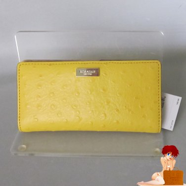 New Kate Spade Portola Valley Stacey Ostrich Leather Clutch Wallet Bag Goldenrod