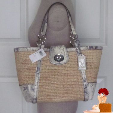 New Authentic Coach Hamptons Weekend Natural Straw Python Handbag Tote Bag 19359