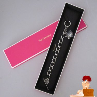 New Authentic Boxed Juicy Couture Heart Banner Starter Bracelet Silver YJRU5408