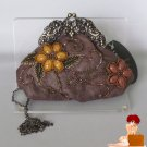 New Authentic Mary Frances Mini Grab Bag Brown Leather Beaded Purse MSRP $140