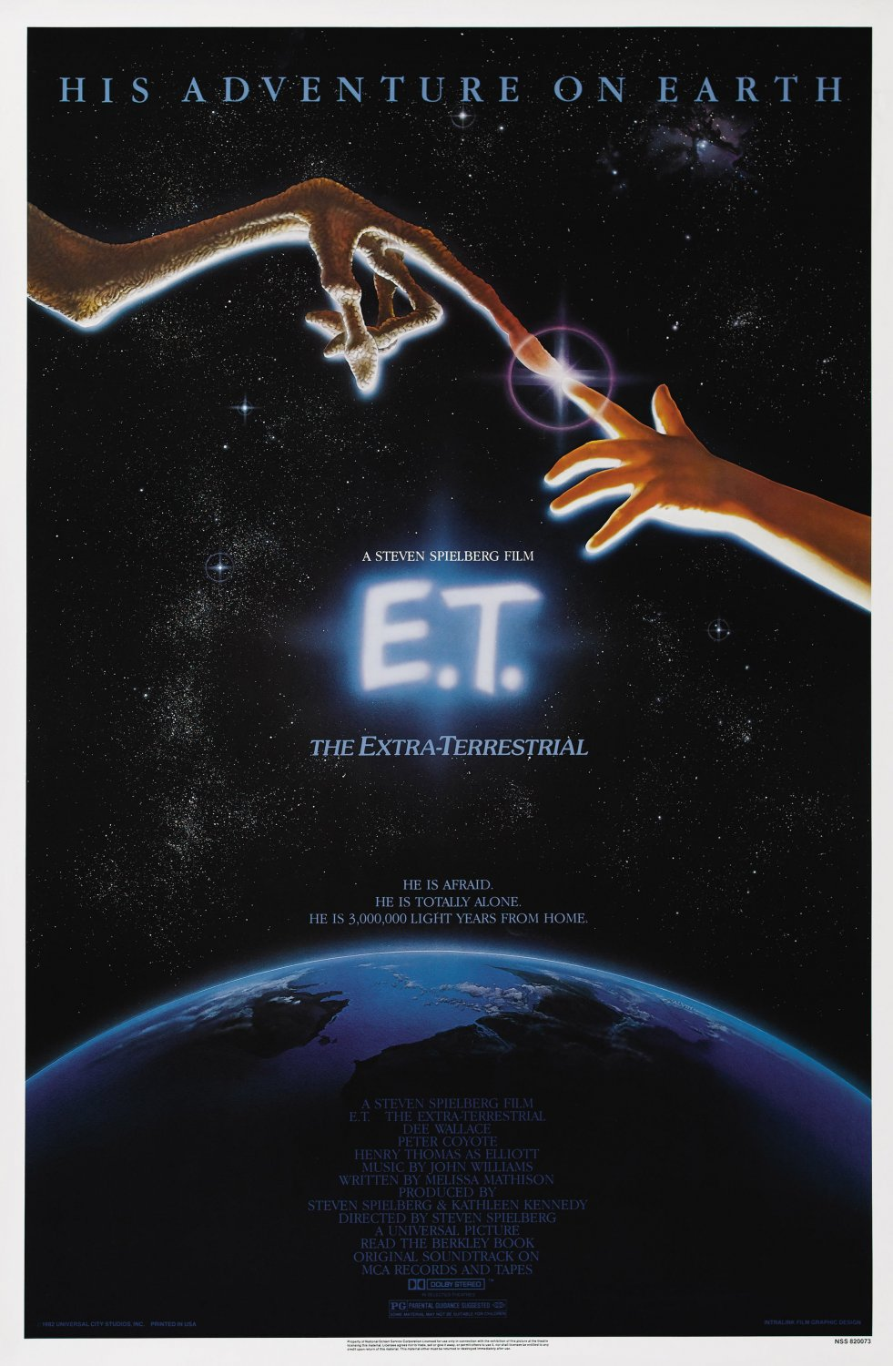 E.T. The Extra Terrestrial 1982 Single Sided Original Movie Poster 27�40
