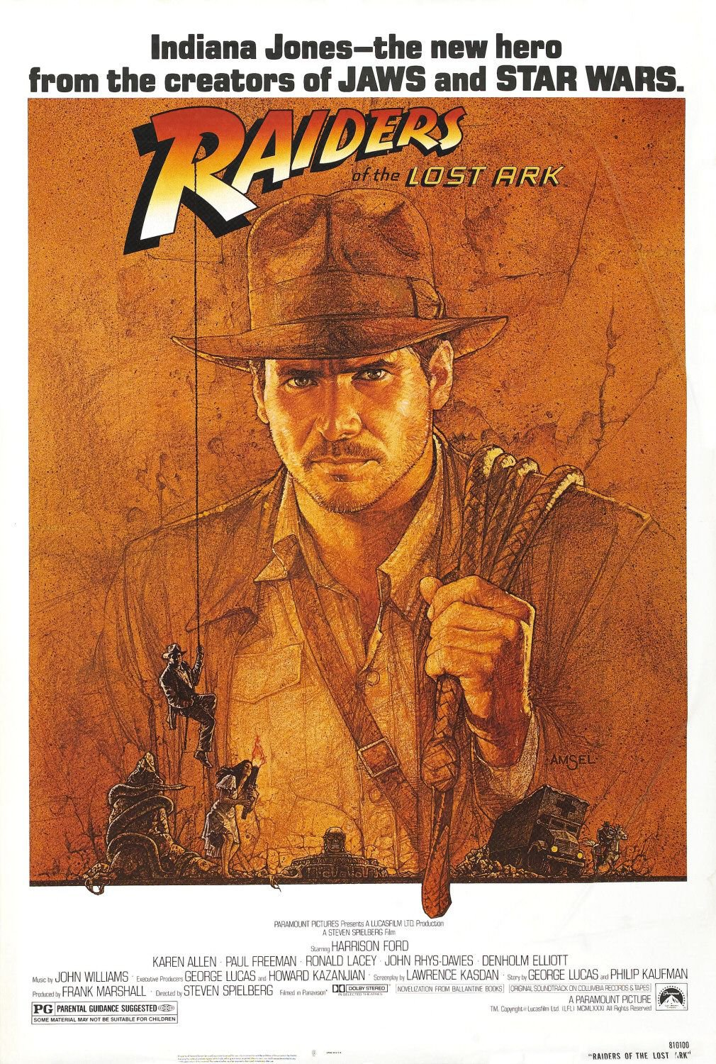 Indiana Jones Raiders of the Lost Ark Movie Poster Re-Release Single Sided 27�40