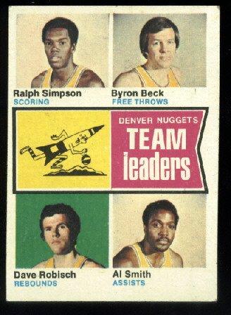 1974-75 Topp #222 Denver Nuggets Leaders  ABA