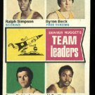 1974-75 Topp #222 Denver Nuggets Leaders  ABA