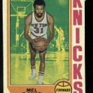 1974-75 Topps #43 Mel Davis   NBA  New York Knicks