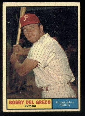 1961 Topps # 154 Bobby Del Greco  Philadelphia Phillies