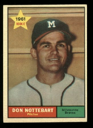 1961 #29 Don Nottebart RC rookie Minnesota baseball card