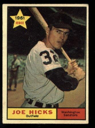 1961 Topps #386 Joe Hicks Washington Senators RC rookie baseball card
