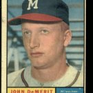 1961 Topps #501 John DeMerit Milwaukee Braves baseball card
