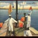 Linen postcard   Recruits Learning Semaphore Signaling  USN-26 Curteich